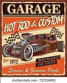 Vintage Hot Rod garage poster.