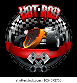 Vintage Hot Rod logo for printing on T-shirts or posters. Vector Illustration.