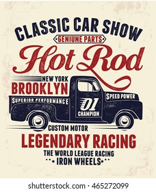 Vintage hot rod  pick up illustration , vectors.