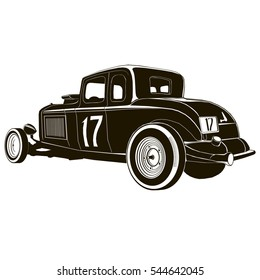 vintage hot rod, vector drawing, graphic, isolated, monogram, symbol, logo