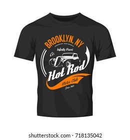 Vintage hot rod vector logo isolated on black t-shirt mock up. Premium quality old sport car logotype emblem illustration. Brooklyn, New York street wear superior retro badge tee print design.