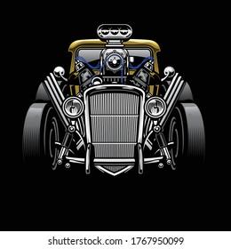 vintage hotrod custom car with big engine