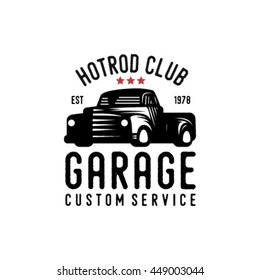 Vintage hotrod logo with fonts. Vector EPS.