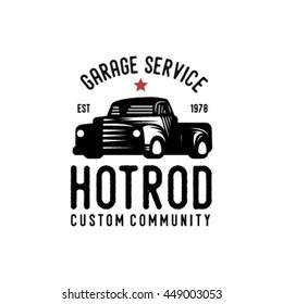 Vintage hotrod logo with fonts. Vector EPS.