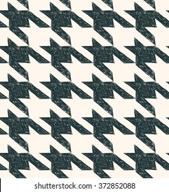 Vintage houndstooth seamless pattern. Black wite fabric background