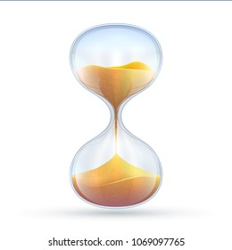 Vintage hourglass, 3d sand clock vector illustration isolated on white background. Clock timer, watch sand glass