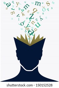 Vintage human head open book words splash illustration. Vector file layered for easy manipulation and custom coloring.