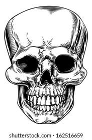 A vintage human skull or grim reaper deaths head illustration