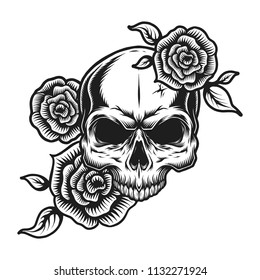 Vintage human skull tattoo concept with rose flowers isolated vector illustration
