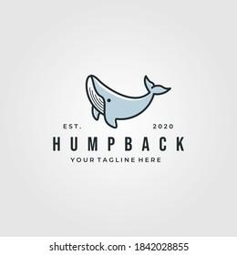 vintage humpback whale logo vector illustration design, whale cartoon symbol vector design