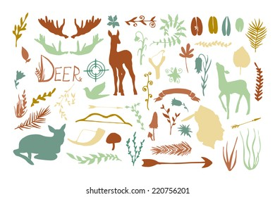 Vintage hunt. Forest animals and plants silhouette set. Hand drawn isolated vintage illustration