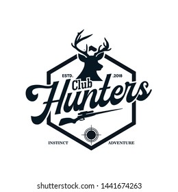 Vintage Hunter Logo Design Vector