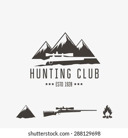 Vintage hunting club emblem or logo and design element.
