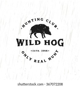 Vintage Hunting Club Emblem with Wild Hog. Vector Illustration for your club, poster, print, apparel, business or art works.
