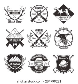 Vintage hunting with dog duck mountain and gun labels set isolated vector illustration