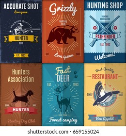 Vintage hunting posters collection with wild animals dog cross guns and hunter vector illustration