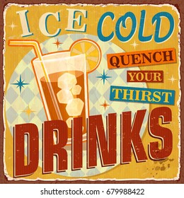 Vintage Ice Cold Drinks metal sign.
