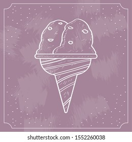 Vintage ice cream cone over a colored background - Vector illustration