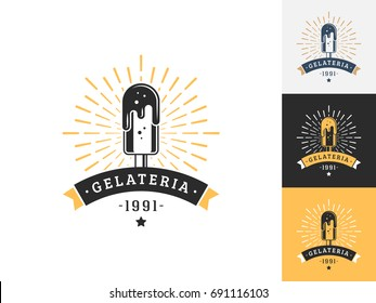 Vintage ice cream logo design template. Vector logotype elements, Icons, Symbols, Retro Labels, Badges and Silhouettes. Vector illustration