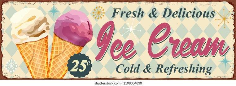 Vintage Ice Cream metal sign.