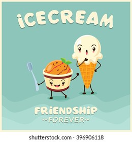 Vintage Ice Cream poster design with ice cream character