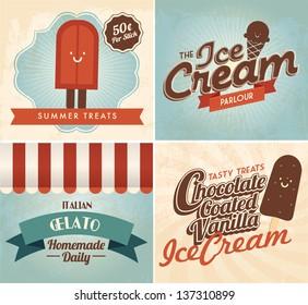 vintage ice cream templates vector/illustration