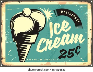 Vintage ice cream vector illustration. Retro advertisement with two scoops of ice cream in a cone and cherry on the top.