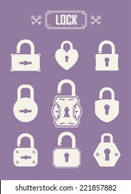 Vintage icons set. Simple silhouette of the lock for the door on violet background.