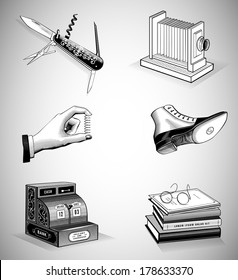 Vintage Icons in Woodcut Style. Vector Illustration