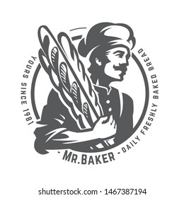 Vintage illustration of a baker with french baguette. Round monochrome vector insignia. Daily freshly baked bread