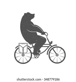 Vintage Illustration bear on a bike with Grunge effect. Funny bear ride a bicycle on a white background for posters and T-shirts.