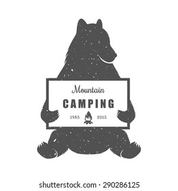 Vintage Illustration bear with sign camping - Grunge effect. Funny Bear with symbol camp and trip isolated on white background for posters, camp clubs and Web emblems