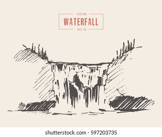 Vintage illustration of beautiful waterfall, hand drawn
