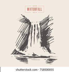 Vintage illustration of beautiful waterfall, hand drawn, sketch