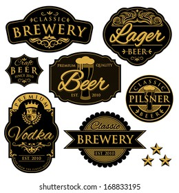 Vintage illustration of beer labels/Badge.