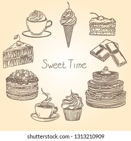 Vintage illustration with cakes, chocolate, coffee, cappuchino and ice cream.