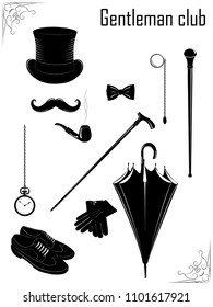 Vintage illustration of classic man clothing and accessories. Man`s fashion set.