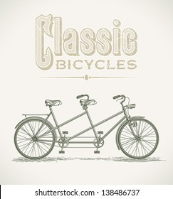 Vintage illustration with a classic tandem bicycle. Editable layered vector.
