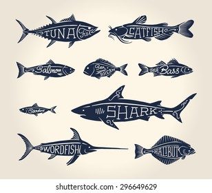 Vintage illustration of fish with names in tattoo style over white background