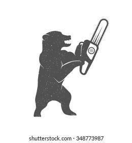Vintage Illustration fun bear with grunge effect for posters and t-shirts. Funny bear with chainsaw on a white background
