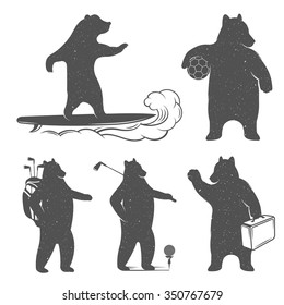 Vintage Illustration fun bear with grunge effect for posters and t-shirts. Funny with surf, football ball and suitcase