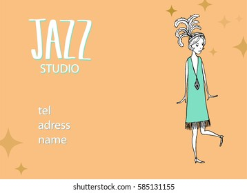 vintage illustration hand drawn of dancing girls ' 20s in a blue dress and large feathers on the head, a business card mock jazz studios, yellow background with stars of different sizes