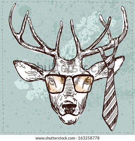 abcbb7332c0 Vintage illustration of hipster deer with glasses and tie in vector on  vintage background