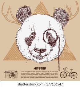 Vintage illustration of hipster panda with glasses in vector. Sketchy illustration hand drawn, vector object isolated, realistic image