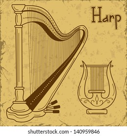 Vintage illustration of isolated harp and lyre