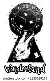 """Vintage illustration with keyhole, white rabbit and clock. Alice in wonderland motifs. Tattoo art and double exposure style. Hand drawn phrase """"wonderland""""."""