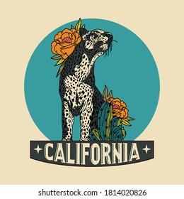 Vintage Illustration Leopard Badge Vector Design