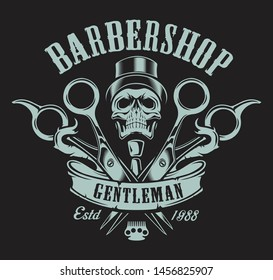 Vintage illustration on the theme of the barbershop with a skull on a dark background. All elements and text are in a separate group.