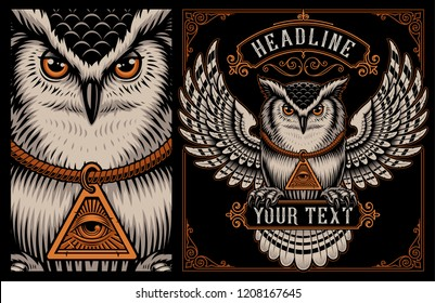 Vintage illustration of Owl with amulet of all seeing eye on the dark background. layered, text is on the separate group. Color version.