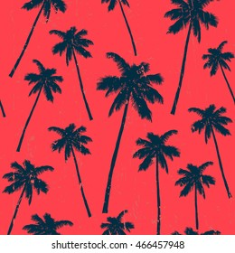 Vintage illustration - Palm silhouette seamless pattern